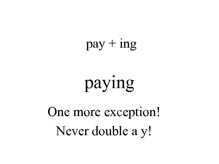 pay + ing paying One more exception! Never double a y!