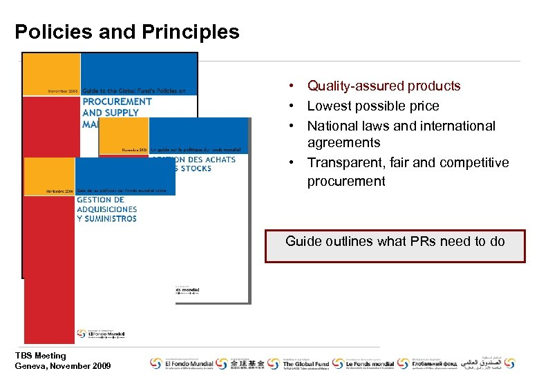 Policies and Principles • Quality-assured products • Lowest possible price • National laws and