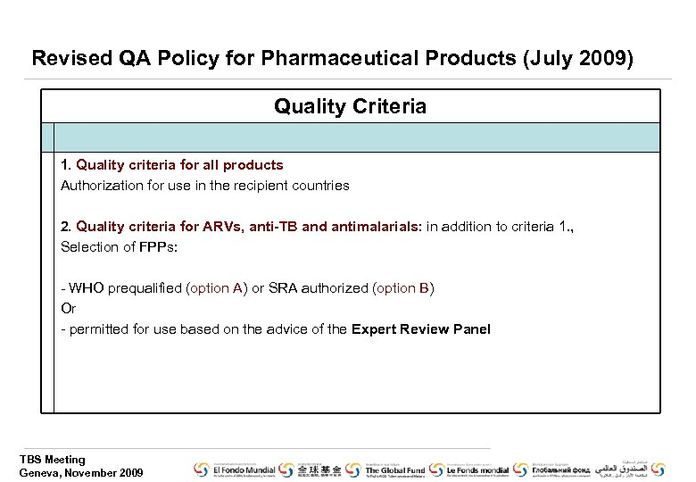Revised QA Policy for Pharmaceutical Products (July 2009) Quality Criteria 1. Quality criteria for