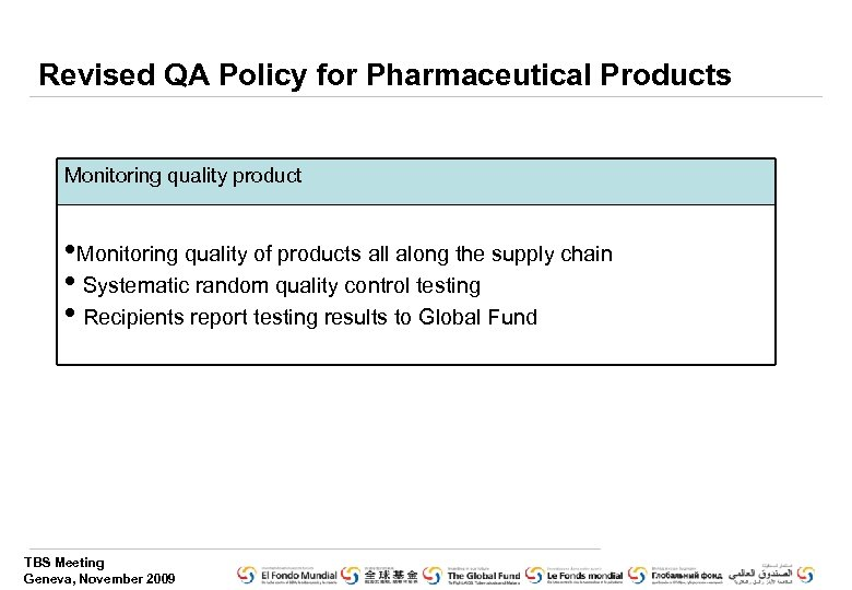 Revised QA Policy for Pharmaceutical Products Monitoring quality product • Monitoring quality of products