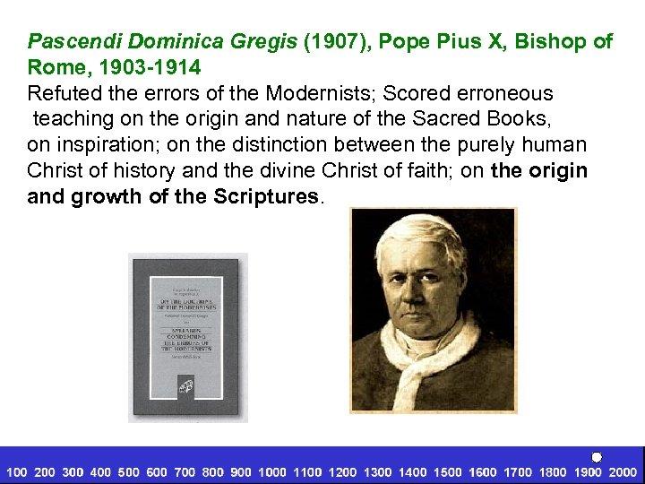 Pascendi Dominica Gregis (1907), Pope Pius X, Bishop of Rome, 1903 -1914 Refuted the