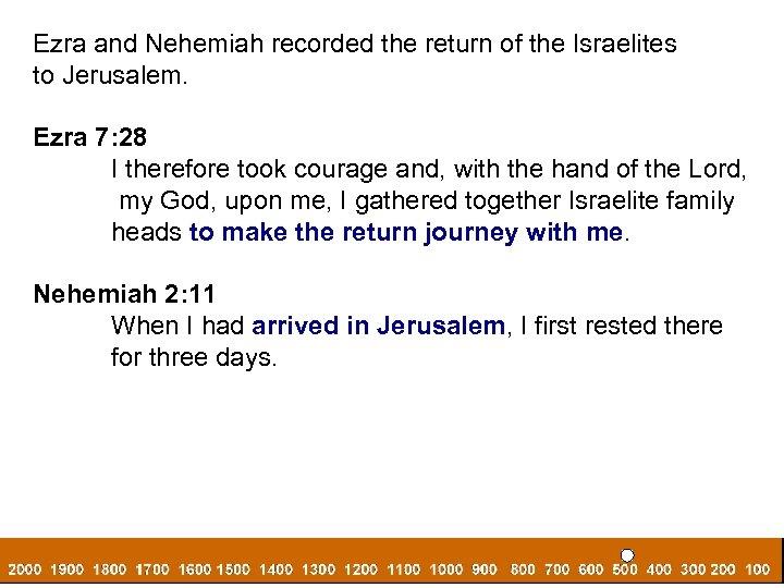 Ezra and Nehemiah recorded the return of the Israelites to Jerusalem. Ezra 7: 28
