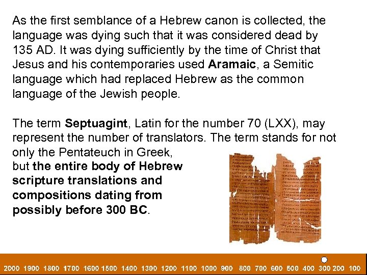 As the first semblance of a Hebrew canon is collected, the language was