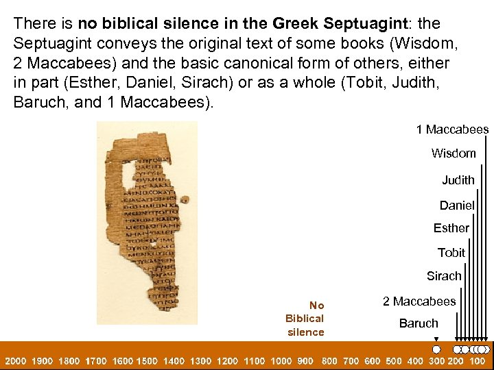 There is no biblical silence in the Greek Septuagint: the Septuagint conveys the original