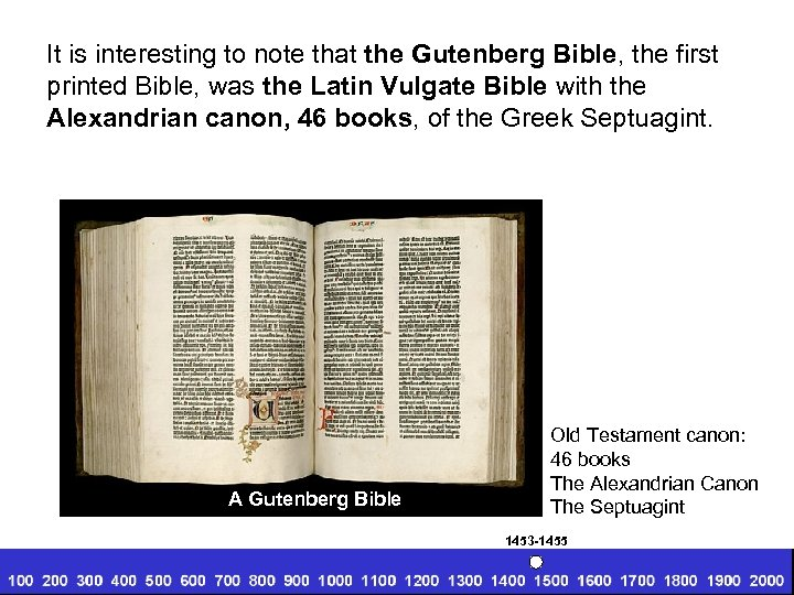 It is interesting to note that the Gutenberg Bible, the first printed Bible, was
