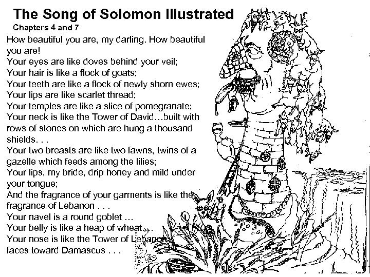 The Song of Solomon Illustrated Chapters 4 and 7 How beautiful you are, my