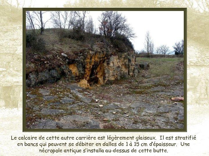 Le calcaire de cette autre carrière est légèrement glaiseux. Il est stratifié en bancs