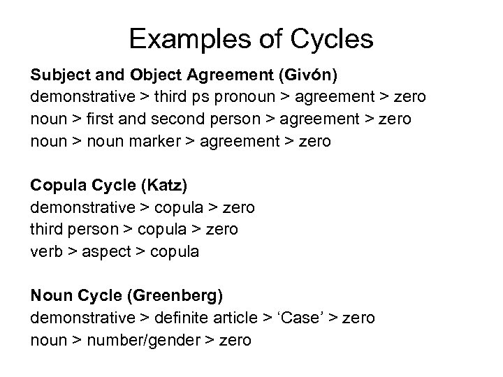 Examples of Cycles Subject and Object Agreement (Givón) demonstrative > third ps pronoun >