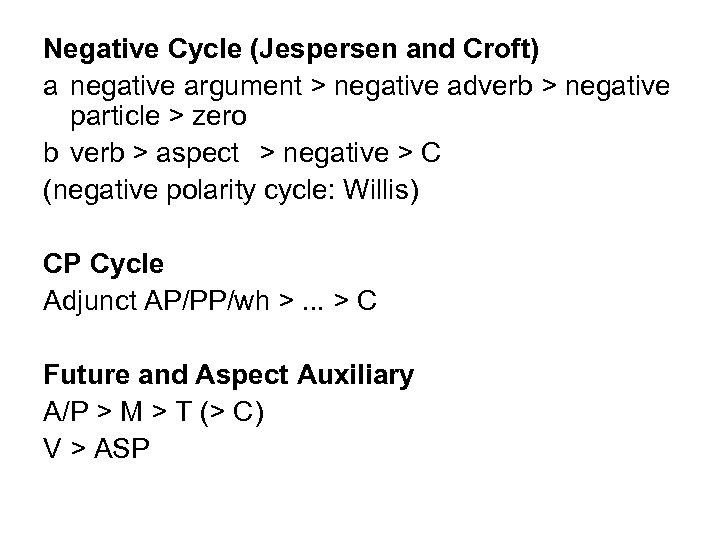 Negative Cycle (Jespersen and Croft) a negative argument > negative adverb > negative particle