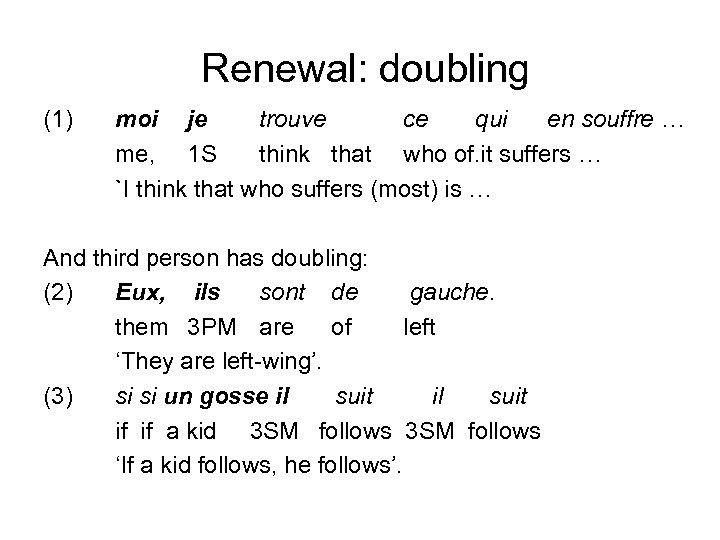 Renewal: doubling (1) moi je trouve ce qui en souffre … me, 1 S