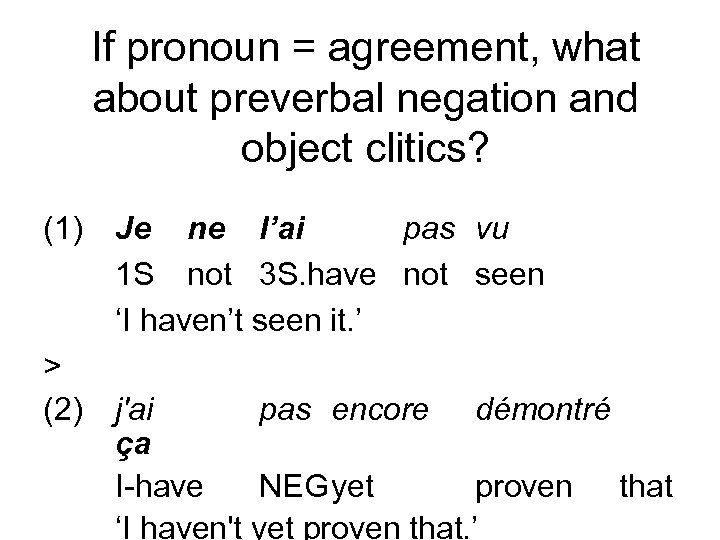 If pronoun = agreement, what about preverbal negation and object clitics? (1) Je ne