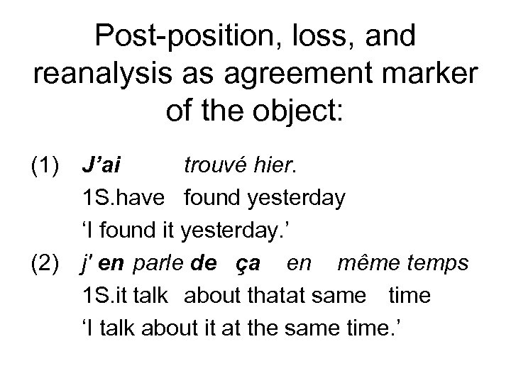 Post-position, loss, and reanalysis as agreement marker of the object: (1) (2) J'ai trouvé