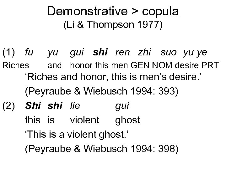 Demonstrative > copula (Li & Thompson 1977) (1) fu yu Riches and honor this