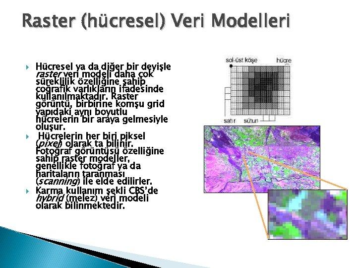 Raster (hücresel) Veri Modelleri Hücresel ya da diğer bir deyişle raster veri modeli daha