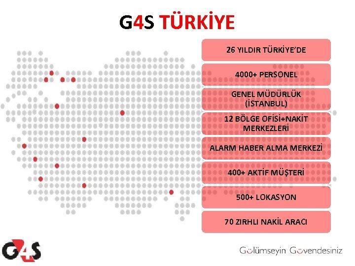G 4 S TÜRKİYE 26 YILDIR TÜRKİYE'DE 4000+ PERSONEL GENEL MÜDÜRLÜK (İSTANBUL) 12 BÖLGE