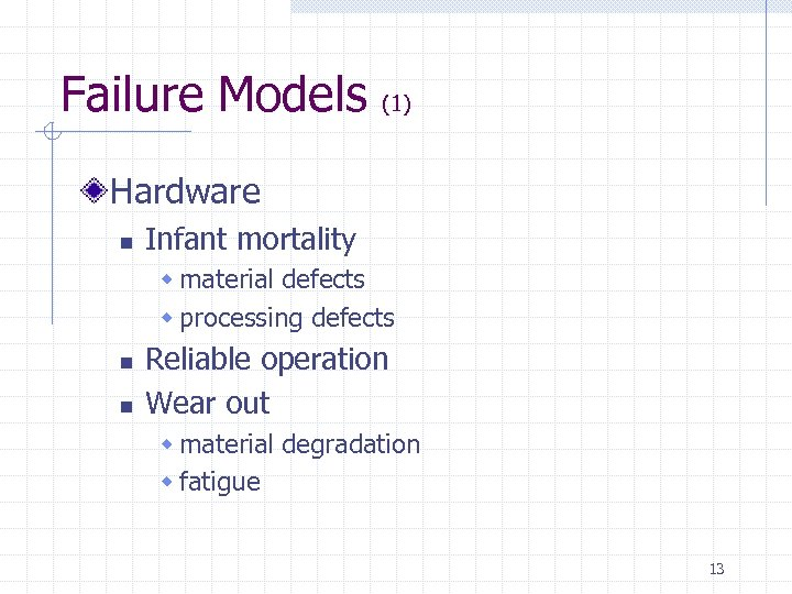 Failure Models (1) Hardware n Infant mortality w material defects w processing defects n