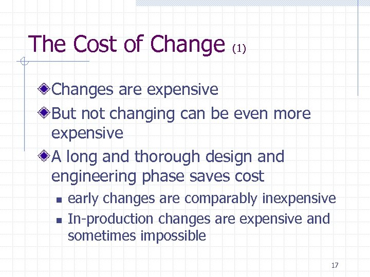 The Cost of Change (1) Changes are expensive But not changing can be even