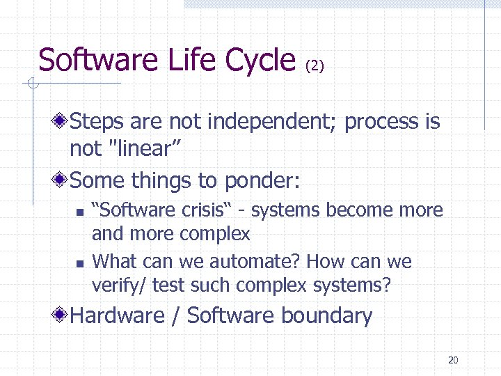 Software Life Cycle (2) Steps are not independent; process is not