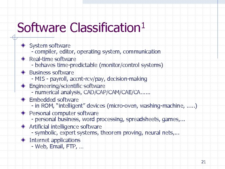 Software Classification 1 System software - compiler, editor, operating system, communication Real-time software -
