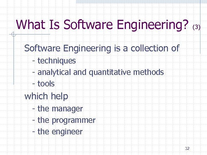 What Is Software Engineering? Software Engineering is a collection of - techniques - analytical