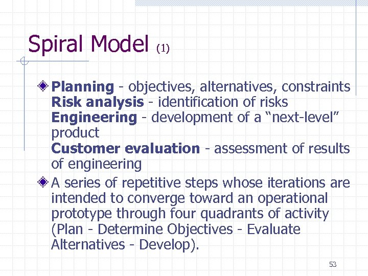 Spiral Model (1) Planning - objectives, alternatives, constraints Risk analysis - identification of risks