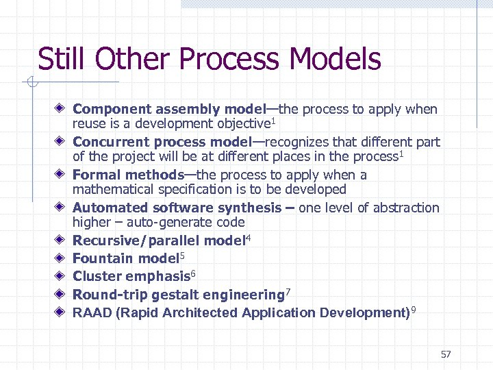 Still Other Process Models Component assembly model—the process to apply when reuse is a