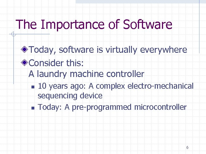 The Importance of Software Today, software is virtually everywhere Consider this: A laundry machine