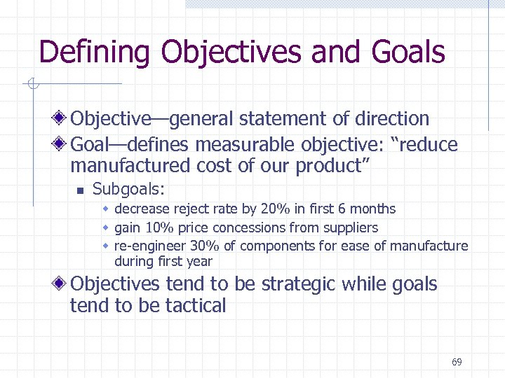 "Defining Objectives and Goals Objective—general statement of direction Goal—defines measurable objective: ""reduce manufactured cost"