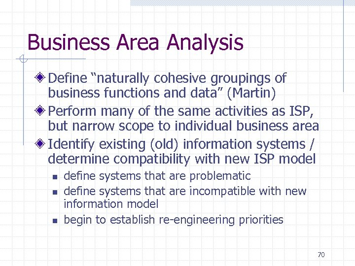 "Business Area Analysis Define ""naturally cohesive groupings of business functions and data"" (Martin) Perform"