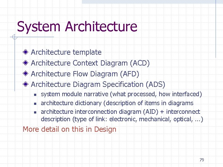 System Architecture Architecture n n n template Context Diagram (ACD) Flow Diagram (AFD) Diagram