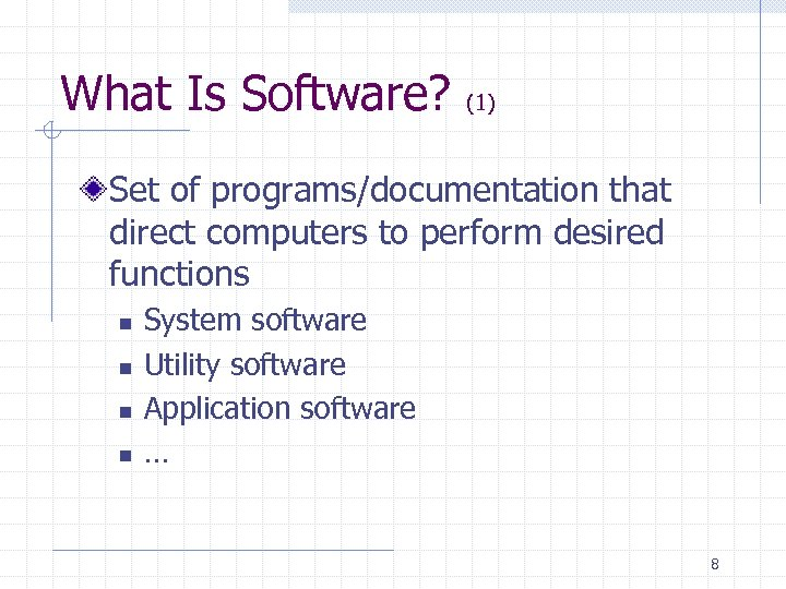 What Is Software? (1) Set of programs/documentation that direct computers to perform desired functions