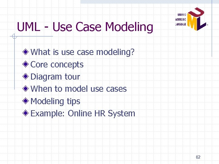 UML - Use Case Modeling What is use case modeling? Core concepts Diagram tour