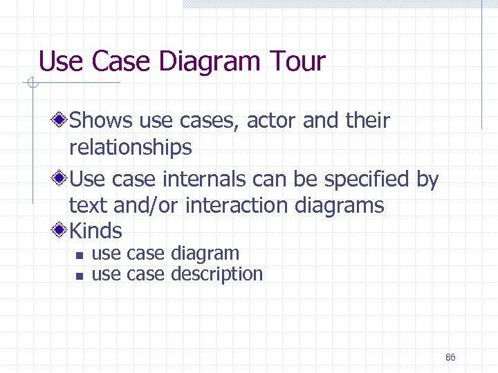 Use Case Diagram Tour Shows use cases, actor and their relationships Use case internals