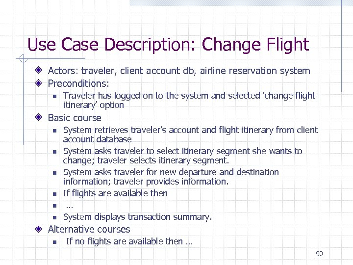 Use Case Description: Change Flight Actors: traveler, client account db, airline reservation system Preconditions: