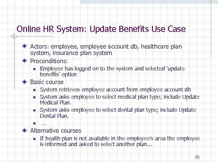 Online HR System: Update Benefits Use Case Actors: employee, employee account db, healthcare plan
