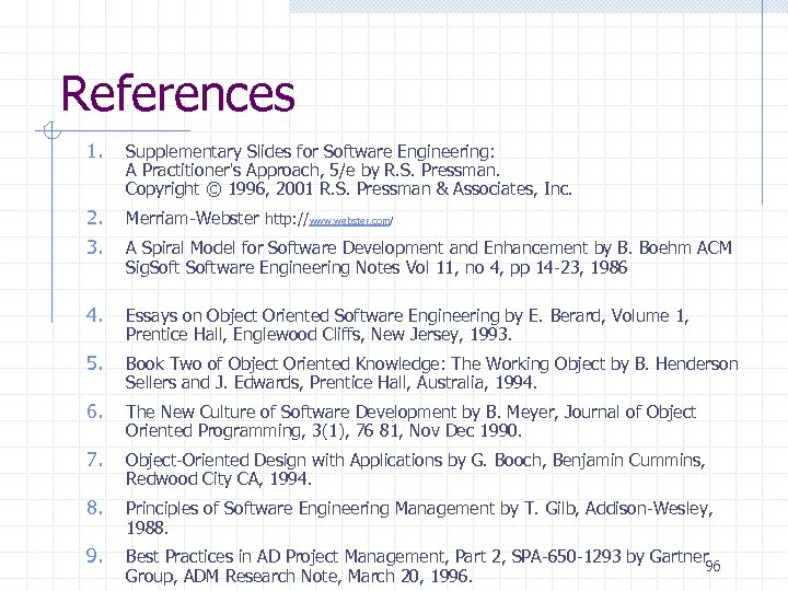 References 1. Supplementary Slides for Software Engineering: A Practitioner's Approach, 5/e by R. S.