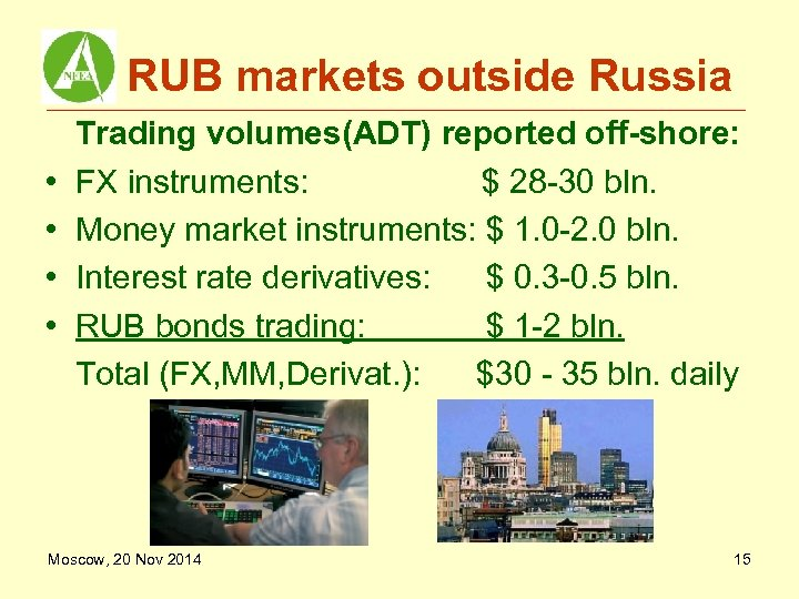 RUB markets outside Russia • • Trading volumes(ADT) reported off-shore: FX instruments: $ 28