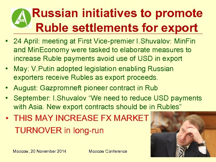 Russian initiatives to promote Ruble settlements for export • 24 April: meeting at First