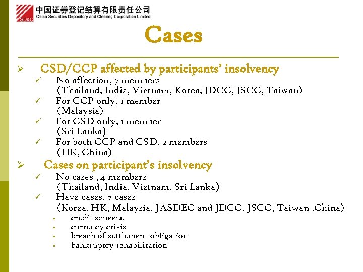 Cases Ø CSD/CCP affected by participants' insolvency No affection, 7 members (Thailand, India, Vietnam,