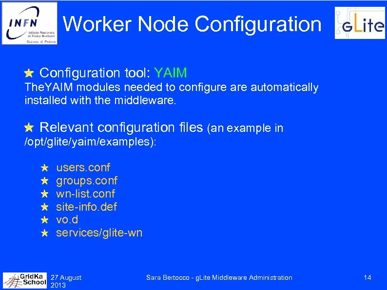 Worker Node Configuration tool: YAIM The. YAIM modules needed to configure automatically installed with