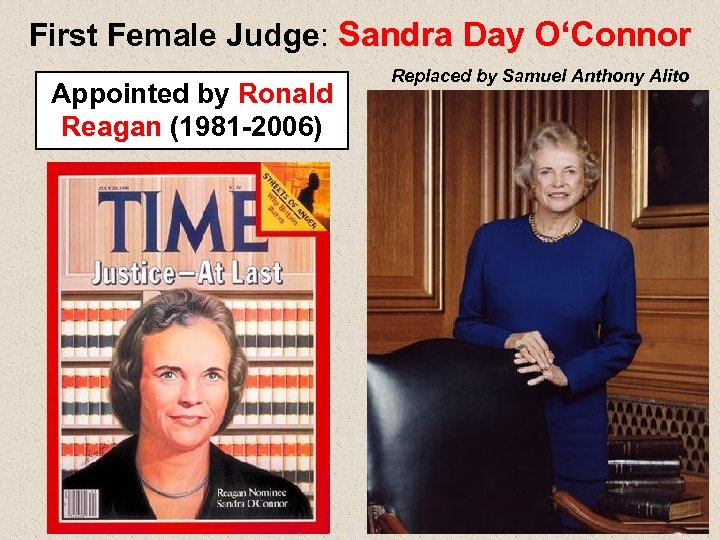 First Female Judge: Sandra Day O'Connor Appointed by Ronald Reagan (1981 -2006) Replaced by