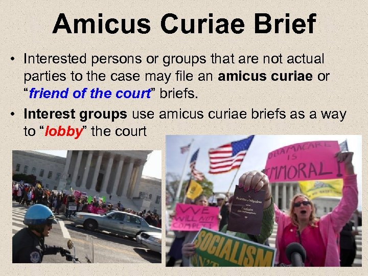 Amicus Curiae Brief • Interested persons or groups that are not actual parties to