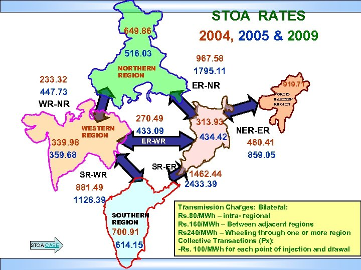 STOA RATES 2004, 2005 & 2009 649. 86 516. 03 NORTHERN REGION 233. 32