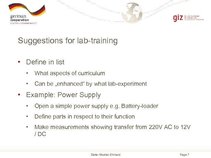 Suggestions for lab-training • Define in list • What aspects of curriculum • Can