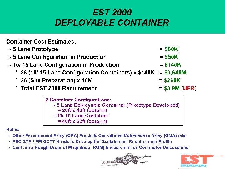 EST 2000 DEPLOYABLE CONTAINER Container Cost Estimates: - 5 Lane Prototype - 5 Lane