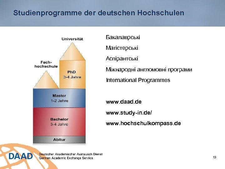 Studienprogramme der deutschen Hochschulen Бакалаврські Магістерські Аспірантські Міжнародні англомовні програми International Programmes www. daad.
