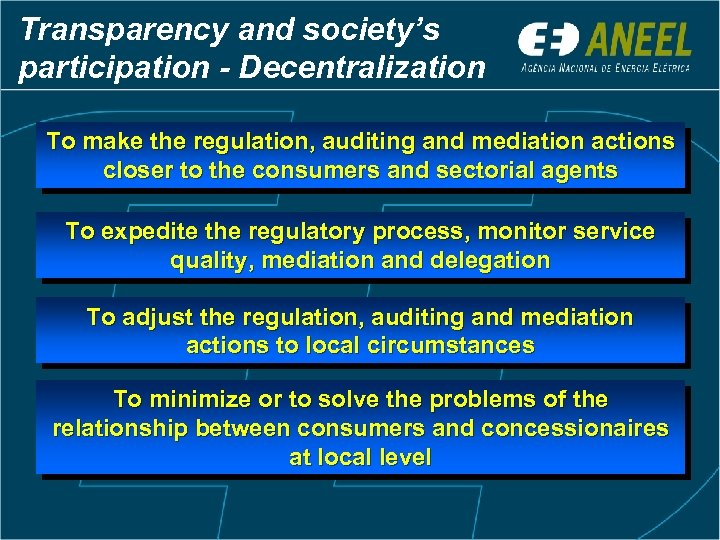 Transparency and society's participation - Decentralization To make the regulation, auditing and mediation actions