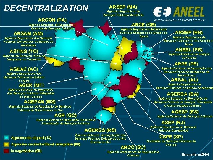DECENTRALIZATION ARSEP (MA) Agência Reguladora de Serviços Públicos Maranhão ARCON (PA) ARCE (CE) Agência