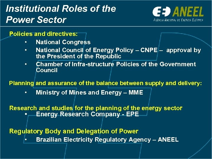 Institutional Roles of the Power Sector Policies and directives: • National Congress • National