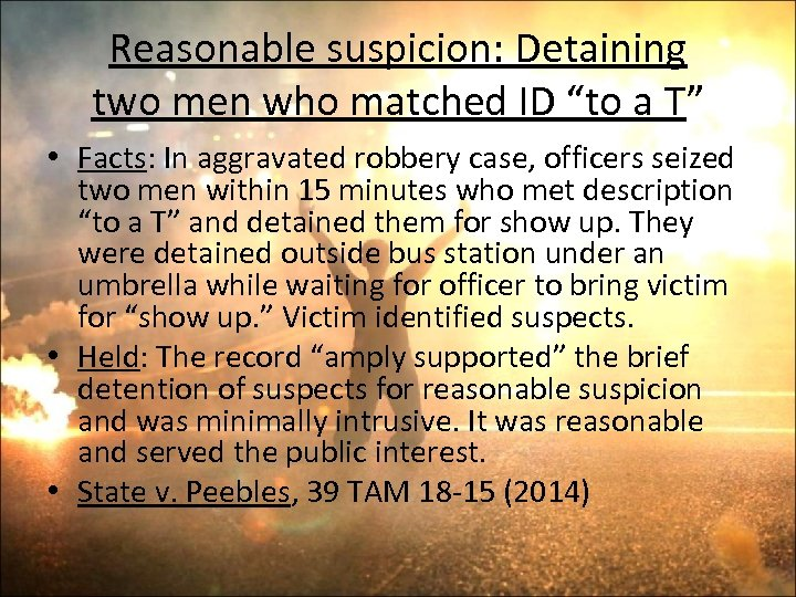 """Reasonable suspicion: Detaining two men who matched ID """"to a T"""" • Facts: In"""